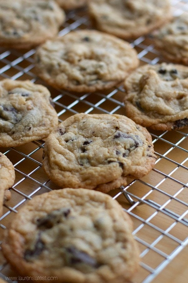 Chocolate Chip Walnut Cookies on a cooling wrack