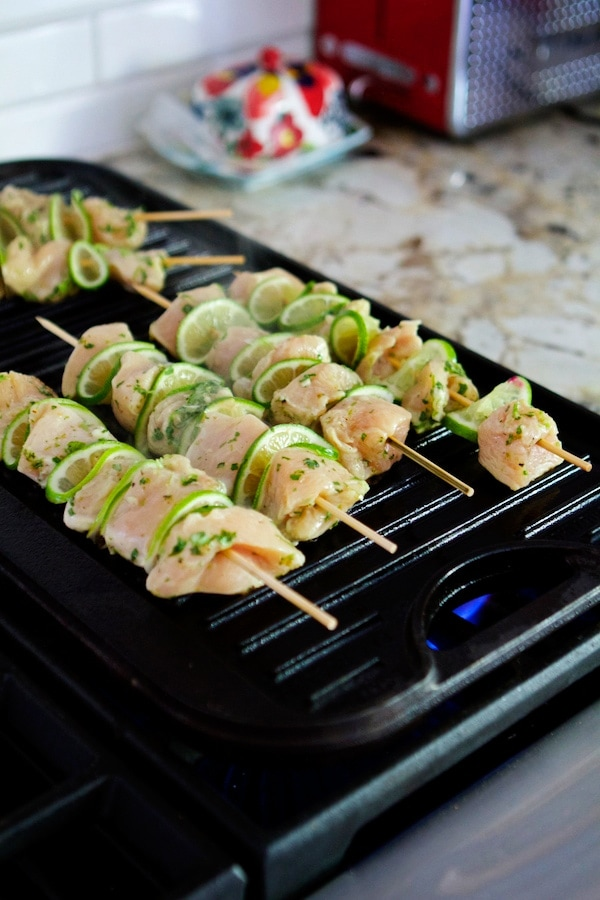 Chicken skewers on the grill
