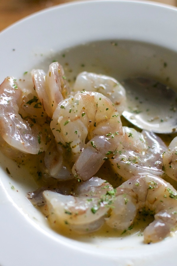 Raw Shrimp with seasonings in a bowl