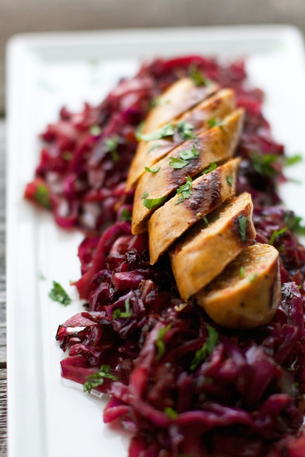 German Red Cabbage with Chicken Sausages
