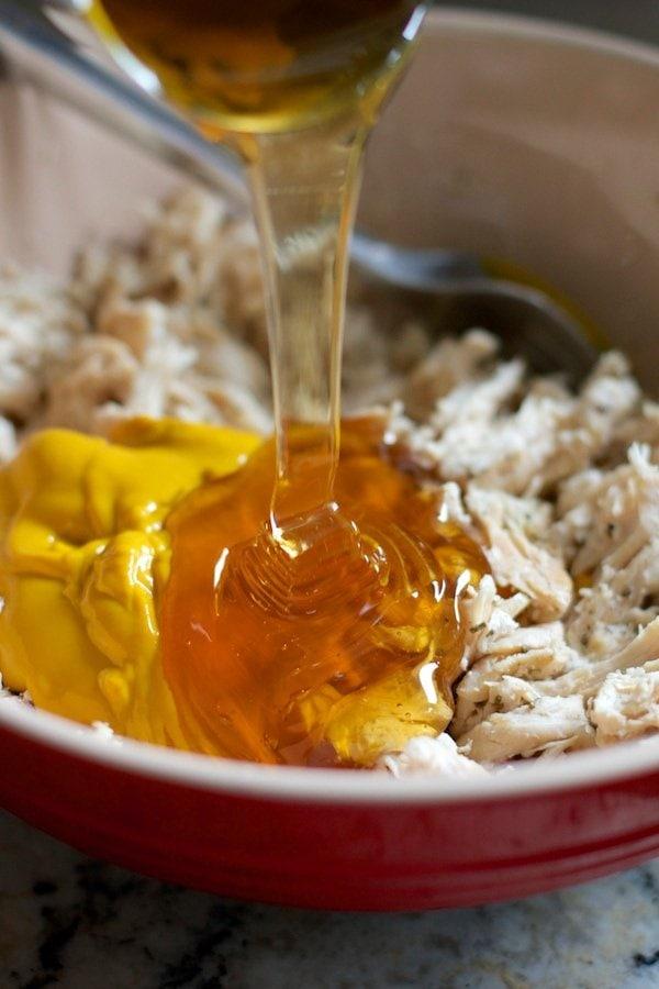 Honey and mustard with shredded chicken