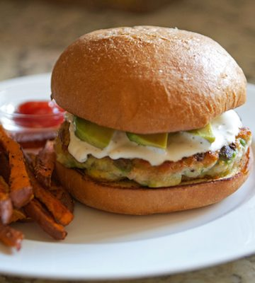 Chicken Avocado Burgers with Sweet Potato Fries + Plated!