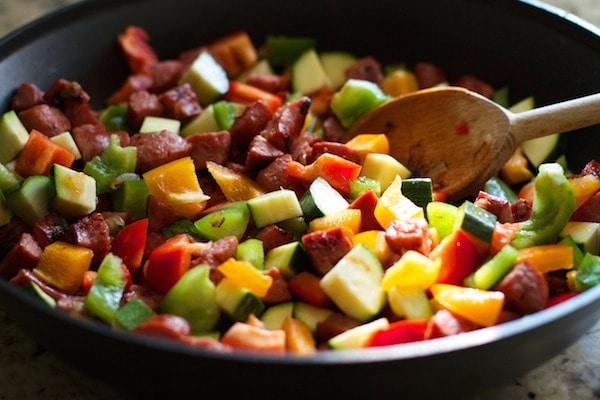 Turkey sausage and vegetables