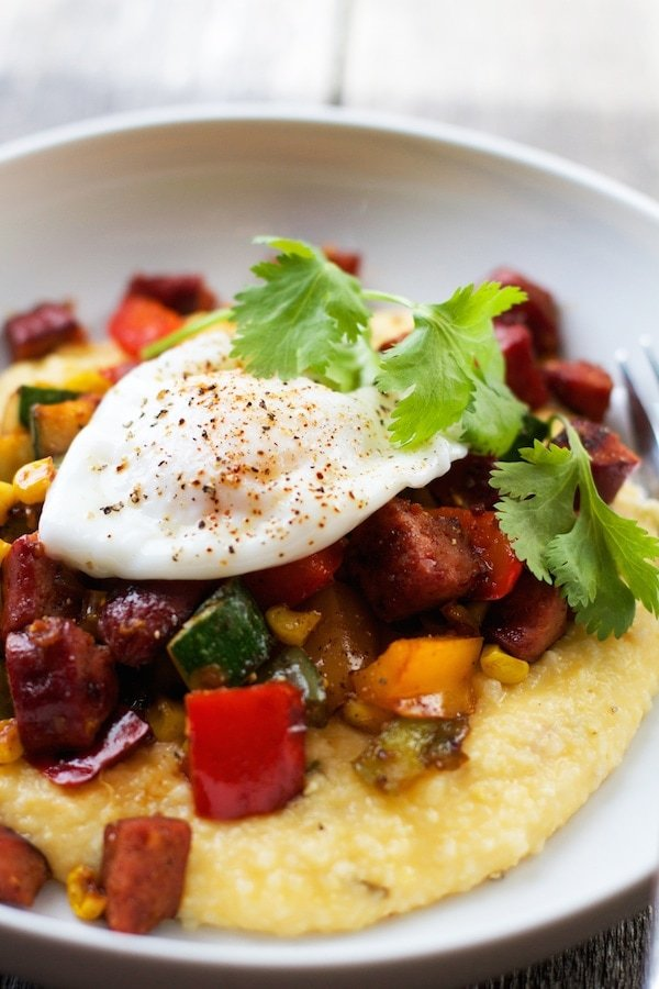 Poached Eggs with Tex-Mex Breakfast Hash and Cheddar Jalapeño Grits