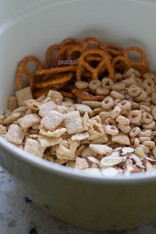 Cherry Almond Chex Mix Unmixed