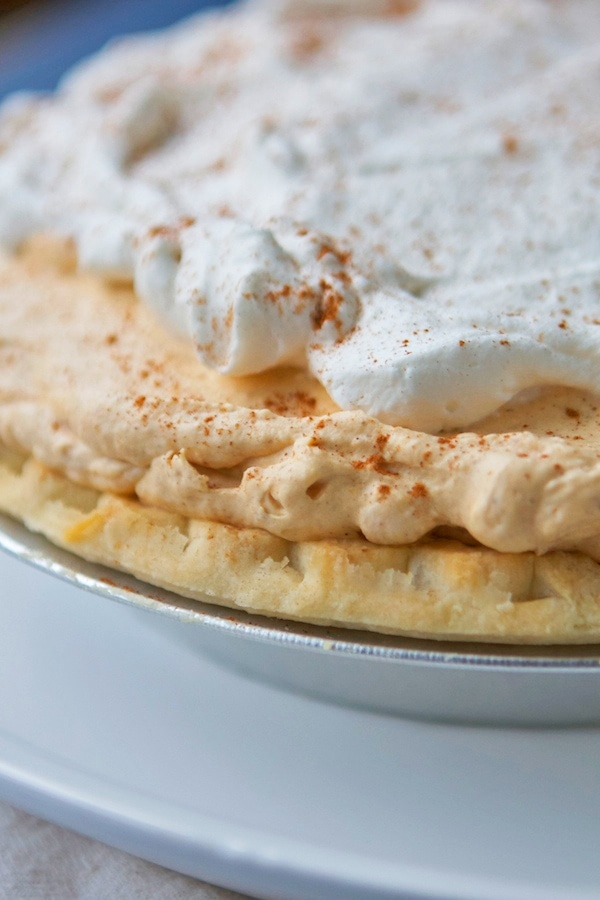 Close up of pumpkin cream pie