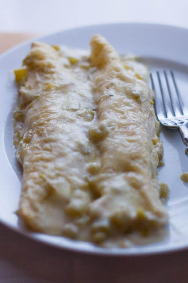Green Chile Sour Cream Chicken Enchiladas