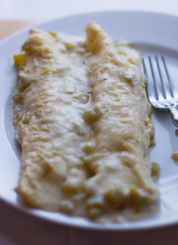 Cheesy Chicken Enchiladas with Sour Cream Green Chile Sauce