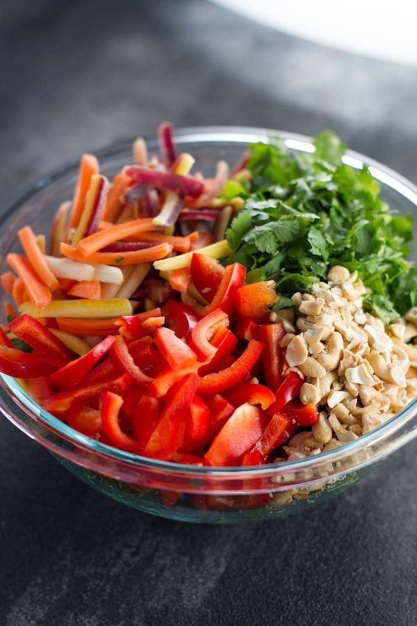 Salad vegetables unmixed