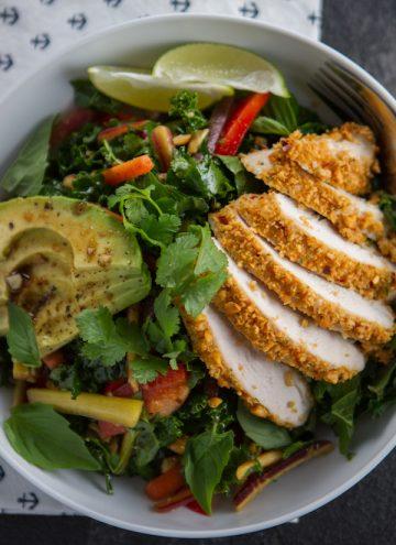 Crunchy Thai Peanut Chicken & Kale Salad