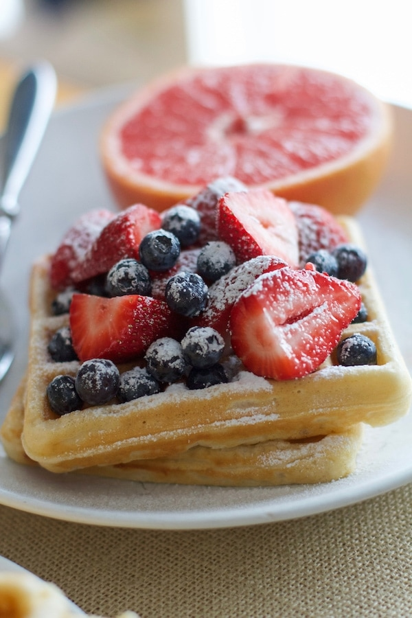 Lemon Waffles with berries