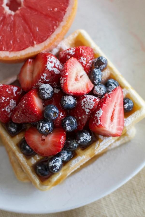 Lemon Waffles with berries