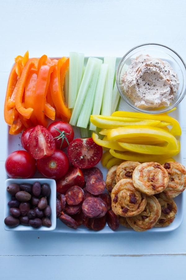 Chorizo Manchego Pinwheels with vegetables