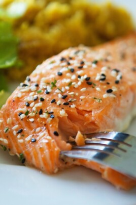Honey Glazed Salmon with Sesame Seeds