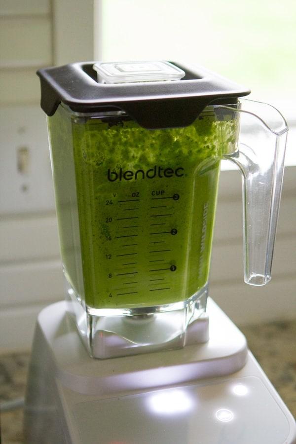 Blended greens in the blender