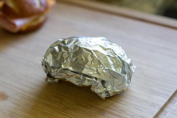wrapped pretzel melts with tin foil