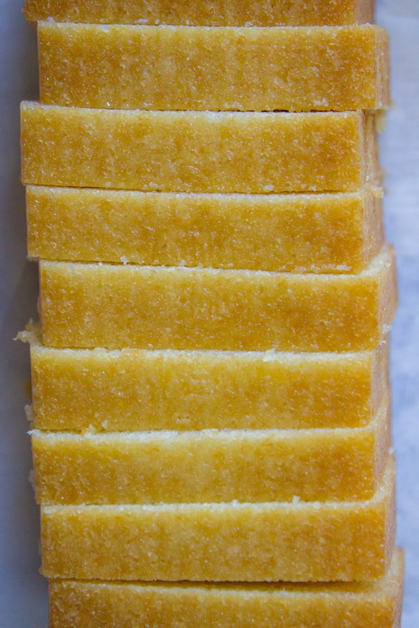 sliced lemon butter cake