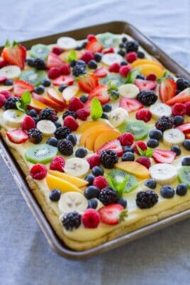 fruit pizza on table