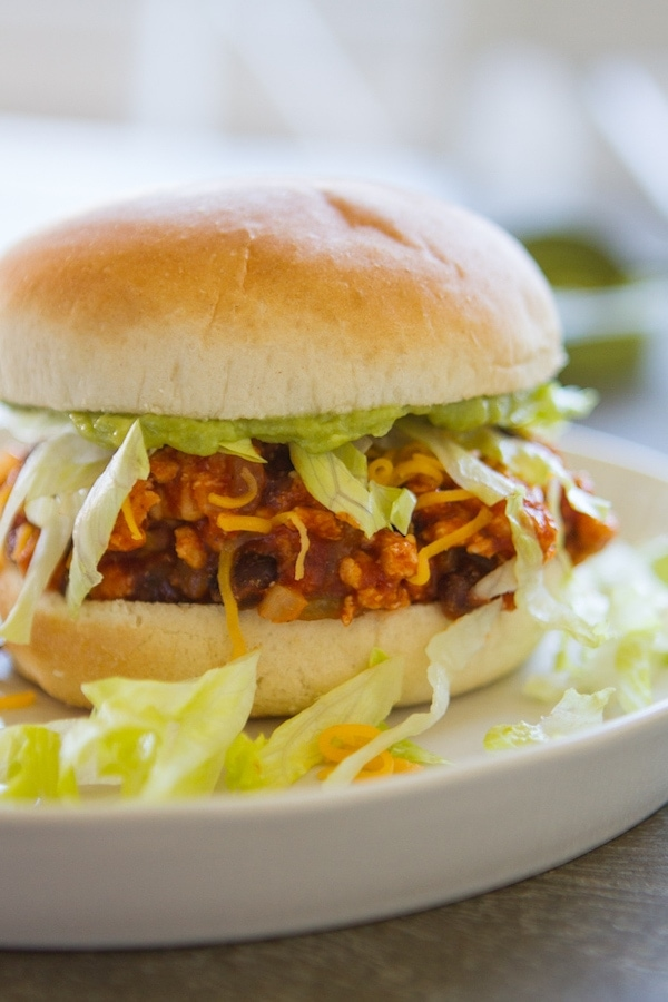 Taco Sloppy Joe with lettuce on a white plate