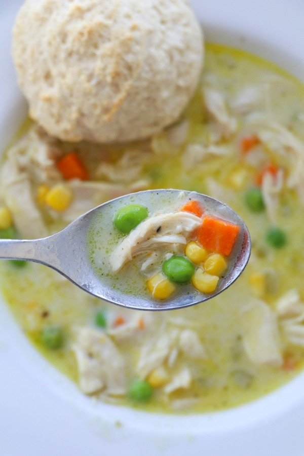 Spoonful of Chicken Pot Pie Soup