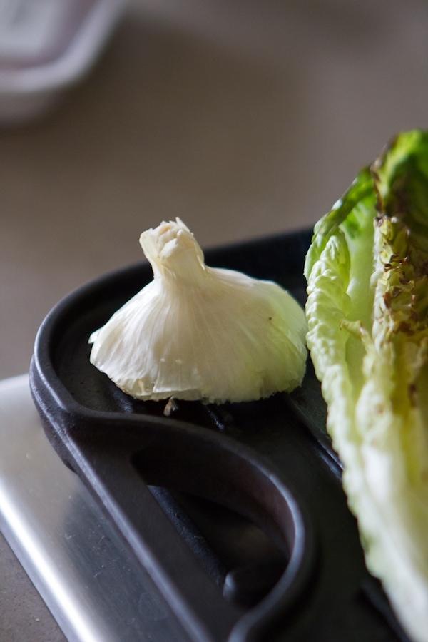 Grilling lettuce