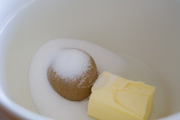 brown sugar, sugar and butter in mixing bowl