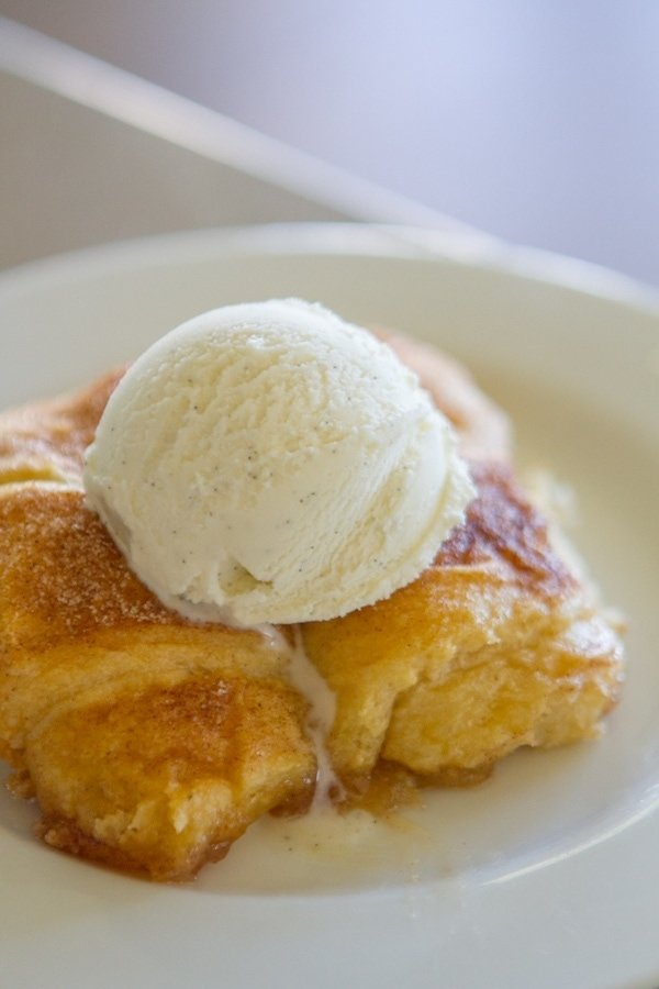 Peach Dumplings with ice cream on top
