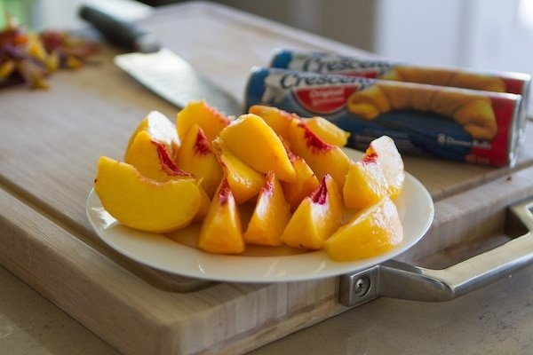 Cut up peaches