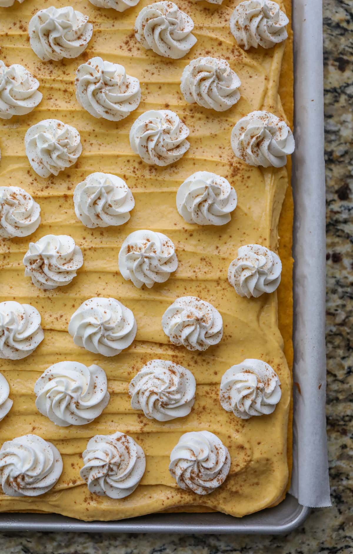 decorated pumpkin pie sheet cake