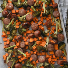 sheet pan with roasted sausages and vegetables