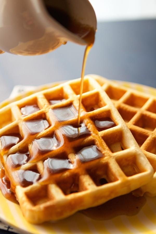 Waffles with cinnamon roll syrup