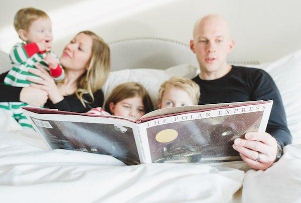 Gordon reading the kids The Polar Express