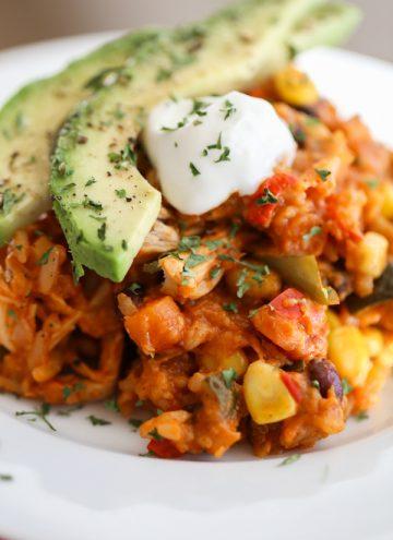 Healthy Crockpot Enchilada Casserole