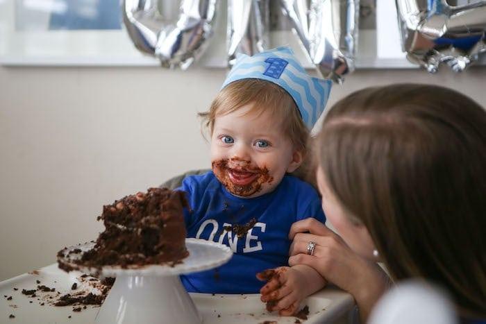 Eddie eating cake