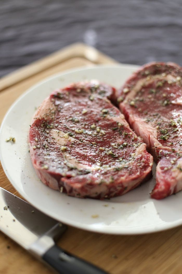 Uncooked Garlic Herb Steak