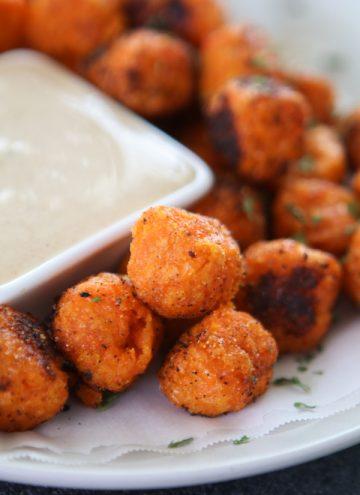 Cajun Sweet Potato Tots with Creamy Cinnamon Dip