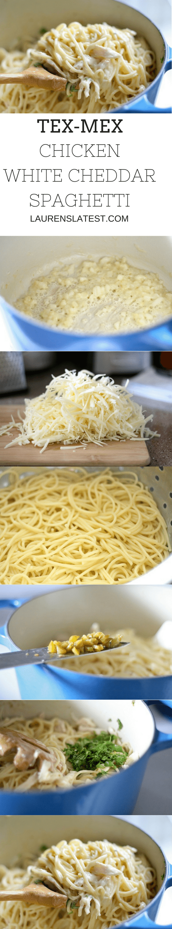 Shredded cheese and cooked noodles