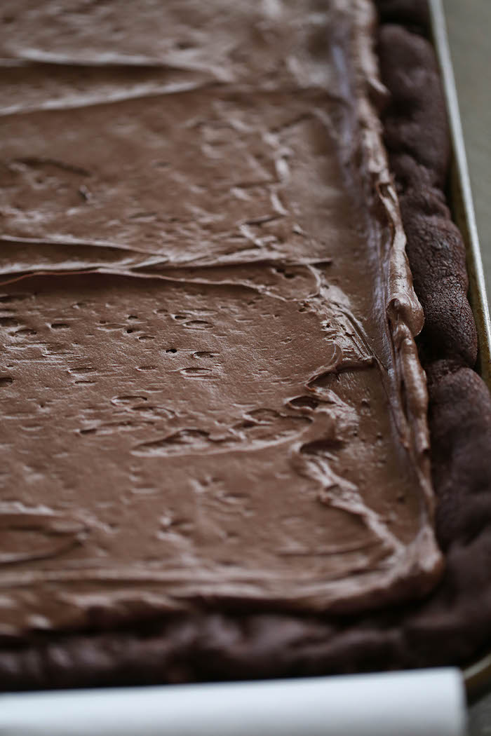 Brownies with chocolate frosting