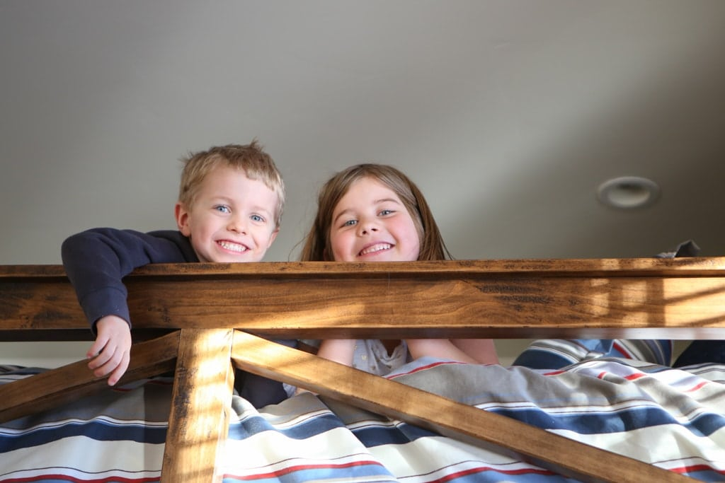 Blake and Brooke on the top bunk