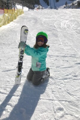 Brooke with skis