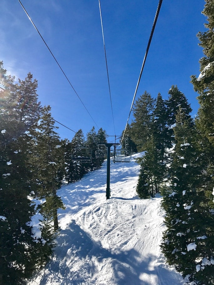 Looking up a ski lift