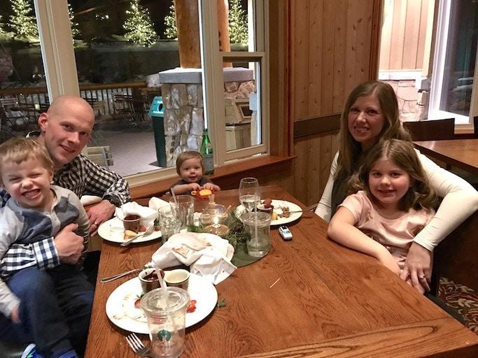 Brennan family at a dinner table