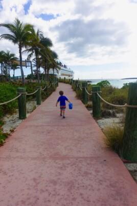 A little boy walking down a path