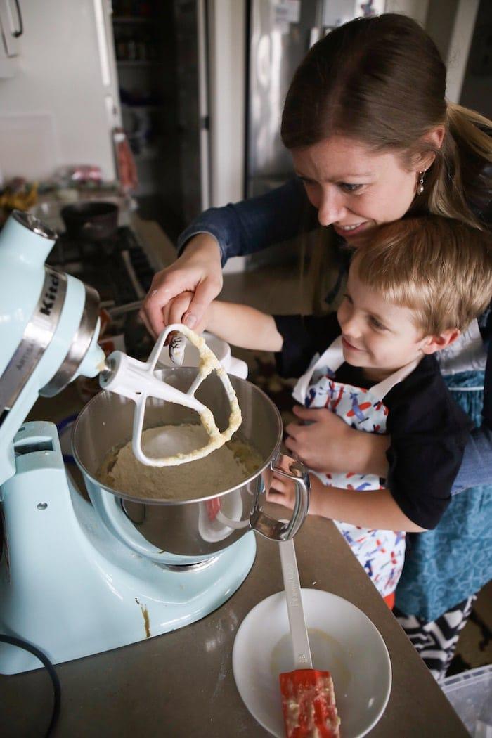 Lauren baking with Blake