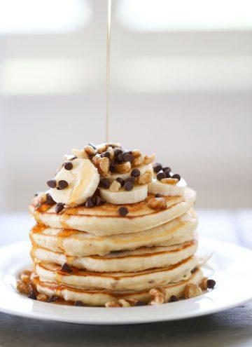Banana Chocolate Chip Walnut Pancakes