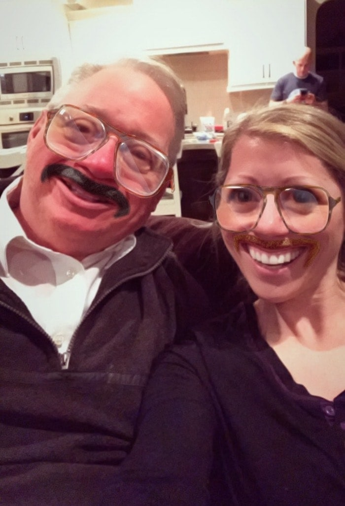 Lauren and her dad with a filter