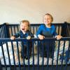 Eddie and Blake in a crib