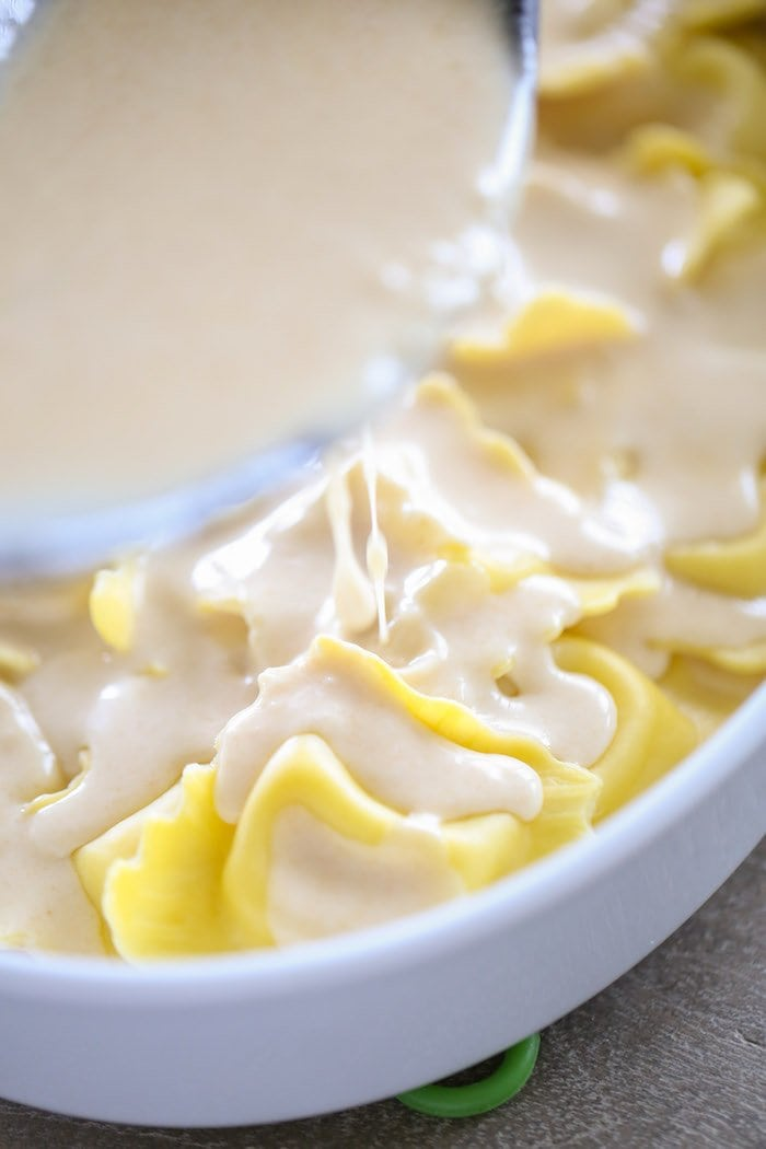 Pouring Brown Butter Alfredo Sauce