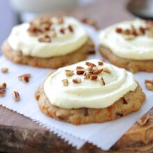 Carrot Cake Pecan Cookies are cake-like and soft and are irresistible when topped with some creamy Orange Cream Cheese Frosting!