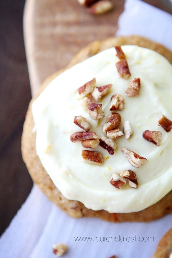 Carrot Cake Pecan Cookies with Orange Cream Cheese ...
